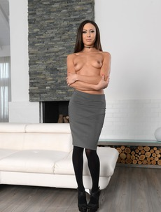 Brunette Hottie Cassie Undressing On The Couch