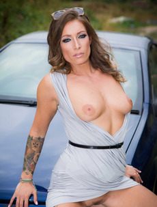 Sexy MILF Ava Austen Strips Near Her Car