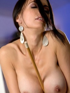 Catalina Cruz playing pool