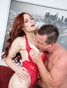 Hot Redhead Pornstar Jessica Ryan Nailed In Red Lingerie
