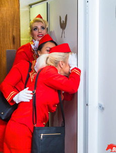 Horny Stewardess Luna Corazon Fucks With The Pilot In The Toilet