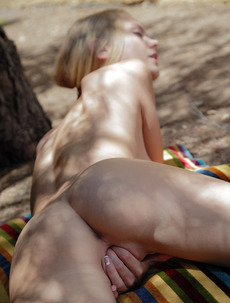 Skinny Girl Nancy Masturbates Outdoors