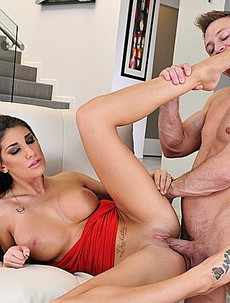 August Ames Gives A Fantastic Footjob