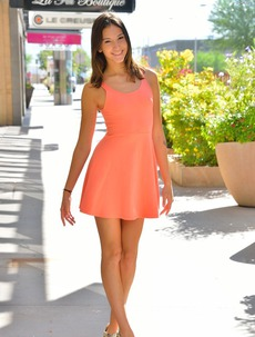 Cute Brunette Beauty Roxanna In Sexy Pink Summer Dress