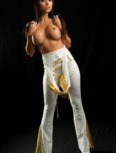 Janessa Brazil Tight White Elvis Jump Suit