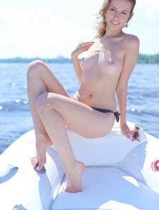 Lucia D Sunbathes Nude On A Boat