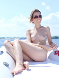Lucia D Sunbathes Nude On A Boat