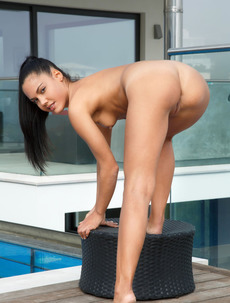 Latina Hottie Apolonia Gets Naked On The Poolside
