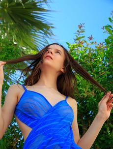 Ukrainian lovely strokes herself sensually