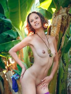 Skinny Teen Sade Mare In A Tropical Garden