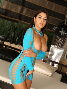 Valentina Nappi In Sexy Blue Fishnet Dress