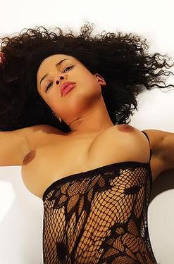 Gabriella In Hot Black Bodystockings