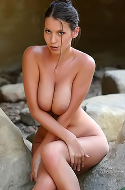 Hot Busty Brunette Outdoor Nude