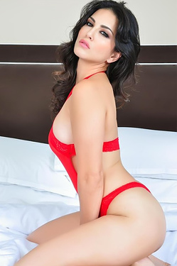 Sunny Leone Red Laced Lingerie