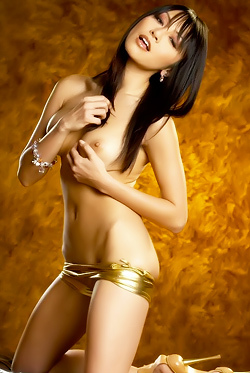 Asian Babe In Gold Bikini