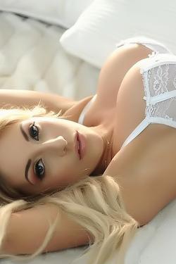 Ashley Emma In White Lingerie On Bed