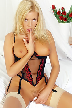 Blonde And Her Stockings
