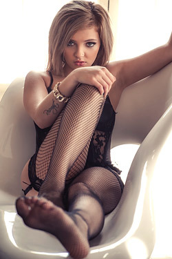 Beautiful Blonde Girl Melody Vee In Sexy Black Lingerie
