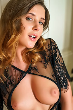 Hot Babe Sybil Masturbates In Black Lace