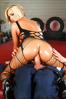 Oiled Kate England In Fishnet